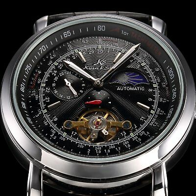 KS Mens Luxury Automatic Mechanical Leather Analog Sport Wrist Watch+Gift Box