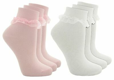Girls Cottonique Cotton Rich Lacy Top Ankle Socks  White In 3 Different Sizes