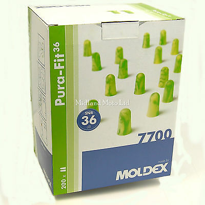 Moldex Ear Plugs, 200 Pairs Of Pura-Fit Foam Earplugs, Full Box Of Pura Fit 7700