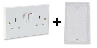 Twin Double Wall 2 Gang Plug Electric Socket Switched Outlet + Pattress Box Back