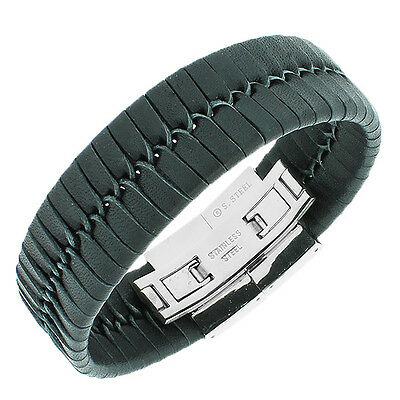 Stainless Steel Black Leather Silver Tone Braided  Mens Bracelet with Clasp