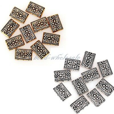 Lots 10/50 Pcs Tibetan Silver 3-3 Hole Rectangle Spacer Beads 17x12mm