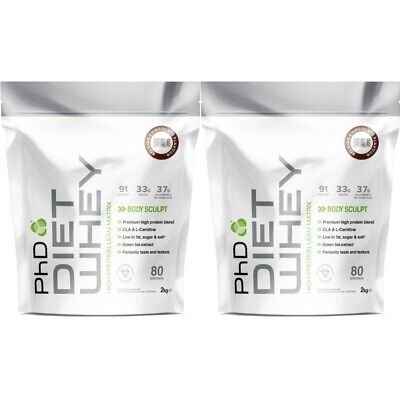 PhD Nutrition Diet Whey Protein 2Kg X 2 Meal Replacement Weight Fat Loss Shake