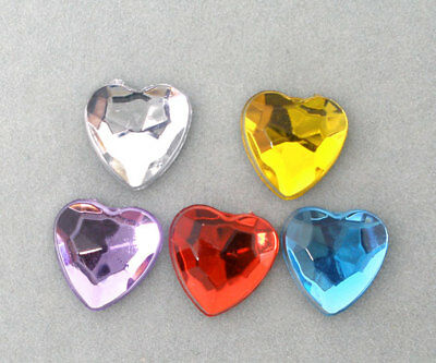 500 Mixed Acrylic Hearts Flat Back Wedding Craft 8x8mm