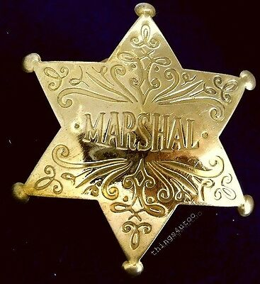 Old wild west Marshal polished brass lawman badge #149