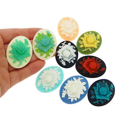 09479 Resin mixed vintage style elliptic flower cameo cabochon charms 8pcs