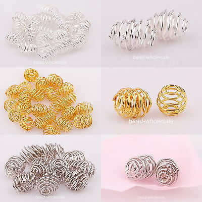 Lots 50pcs Silver/Gold Plated Rotation Pattern Ball Spacer Beads Jewelry Making