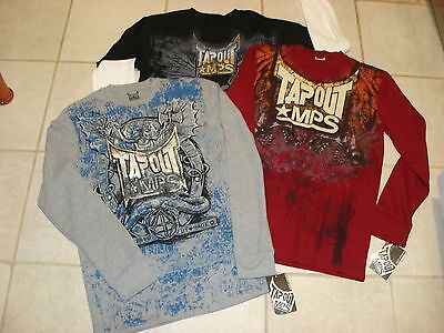 TAPOUT MPS UFC $125 Mens (Lot of 3) LS T-Shirts,THERM T-SHIRT Size -L-  NWT