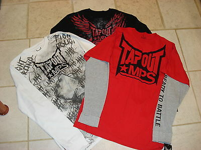 TAPOUT MPS UFC $125 Mens  SIZE L (Lot of 3)1 LS T-Shirts,2 THERM T-SHIRT  NWT