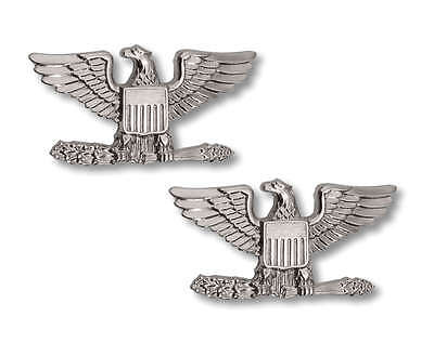 Us Army Military Police Fire Security Colonel Eagle Collar Brass Insignia Pins L