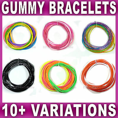 SET of 12 GUMMY BRACELETS Shag bands bangle wristbands gummies girls womens