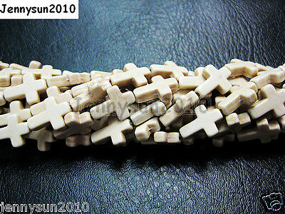 White Howlite Turquoise Side Ways Crosses Spacer Beads 12mm x 16mm 15.5'' Strand