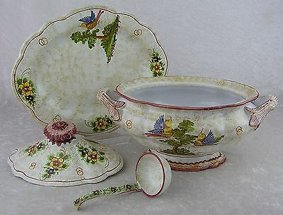Meiselman Imports Italy-Hand Painted Covered Soup Tureen-Bowl Under Plate Ladle