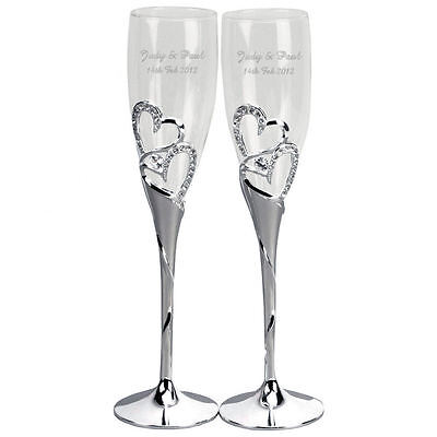 Personalised Heart Champagne Flutes Wedding Engagement Valentines Engraved
