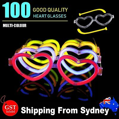 30X Multi Color glow sticks heart shaped glasses Light Party Glow In The Dark