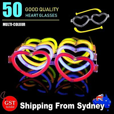 50X Multi Color glow sticks heart shaped glasses Light Party Glow In The Dark