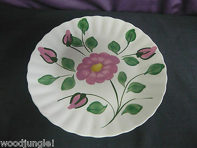 Vintage   BLUE RIDGE RED NOCTURNE  FLOWER SOUTHERN POTTERIES  FLORAL PLATE