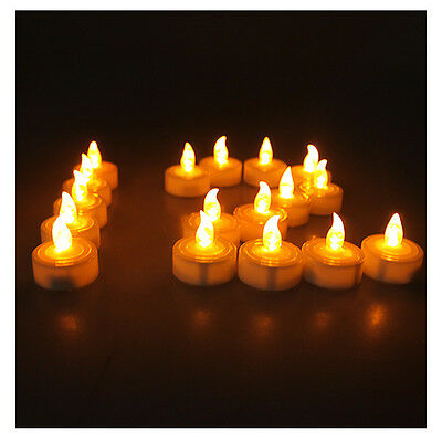 Lot 100 LED Battery Operated Tea Light Flameless Amber Yellow Tealight Candle