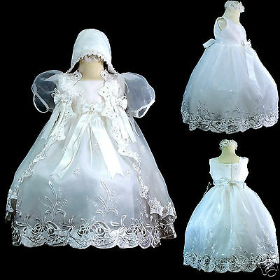 New Infant Girl & Toddler Christening Baptism Church Formal Dress sz 3,4 White