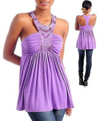 T85 -S M L- PURPLE  Stretchy Baby-Doll Blouse with Beads