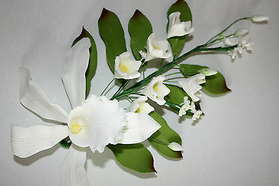 Orchid Spray, Extra Large, White, Sugar Flowers, Cake Topper, Gum, Sugar Paste.