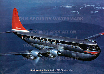 Northwest Airlines Boeing 377 Stratocruiser A3 Poster Picture Photo Image