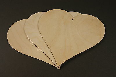(24cm) 10x WOODEN Large Heart Unpainted Shapes Gift Tags Blank Craft Decoration