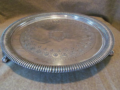 Antique English Silver on Copper Silverplate Footed Tray