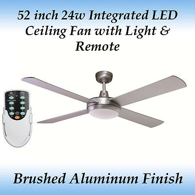 Rotor 52 inch LED Ceiling Fan with Light in Brushed Aluminum and Remote