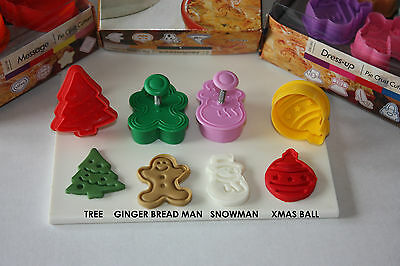 Christmas Themed Plunger Cutters - 4 Designs in Set. Pie Crust, Sugarcraft.