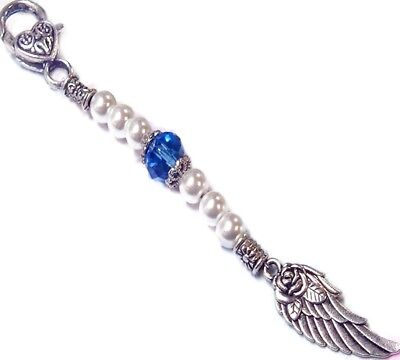Something Blue Angel Wing, clip on charm, bag dangle, ring keeper, bride, gift