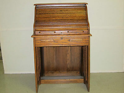 ANTIQUE SOLID OAK S-ROLL LADIES DESK CIRCA 1910 SPACE SAVER REFINISHED
