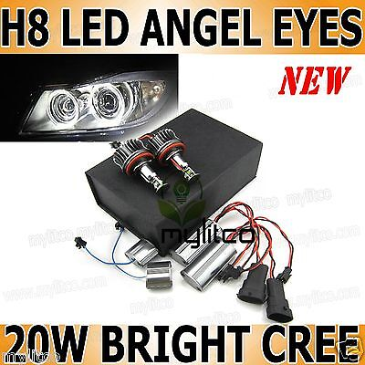 BMW Xenon White Angel Eye Halo Ring Daytime Running Lights H8 20W CREE LED Bulbs