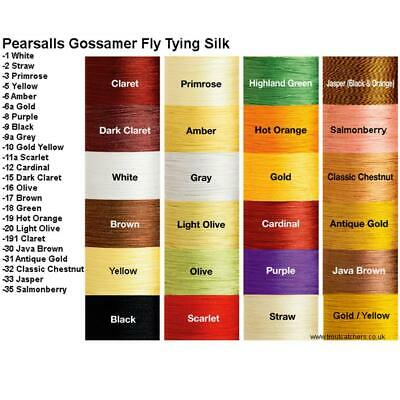 PEARSALL SILK THREAD           24 colors Available   Fly Tying  &  Rod  Building