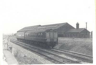 A4 Gloss Print Photo Steam Train Twin Unit At Mansfield 1969 Vintage Bw