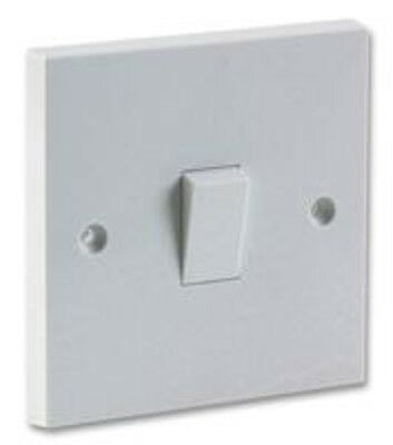 White Single 2 Way Electric Light Switch Box 1 Gang Electrical Wall 10 amp