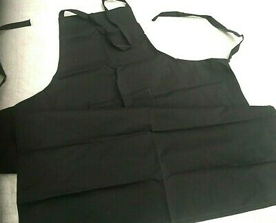 BULK 10 Kitchen Home Cafe Apron Aprons  Polyester Black Waterproof  With Pocket