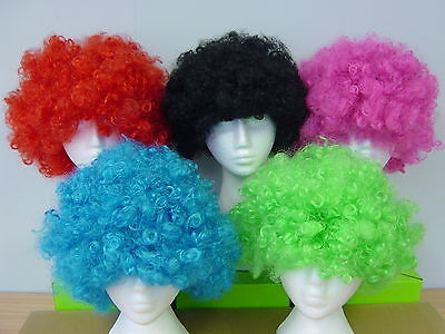 Blue Pink Black RED Green AFRO Wigs Fancy Dress Party Costume