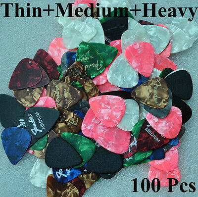 Lots of 100pcs Thin Medium Heavy Assorted Mixed Guitar Picks Celluloid