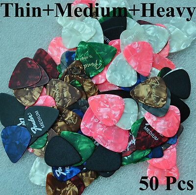 Lots of 50pcs Thin Medium Heavy Assorted Mixed Guitar Picks Celluloid