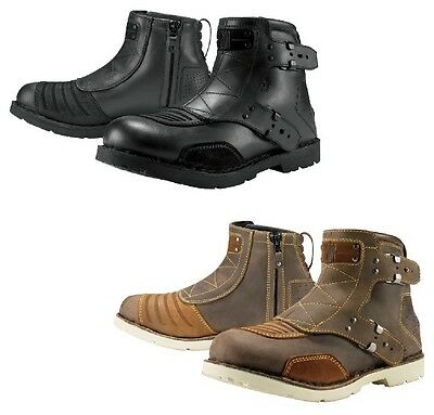 Icon 1000 El Bajo Leather Street Motorcycle Riding Boots