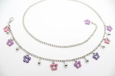 Kids Charm Pendent Waist Chain Belt with Pink & Purple Butterfly