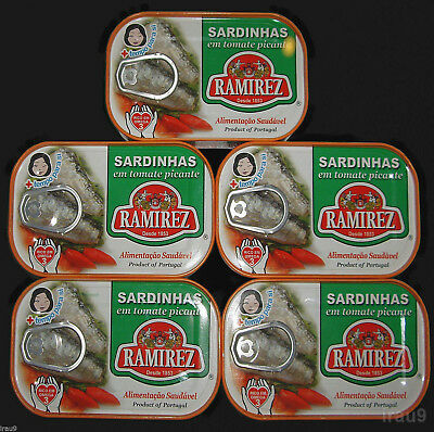 5 Cans Portuguese Sardines Hot Sauce Tomato 125g 4.4oz Rich in Omega3 & Calcium