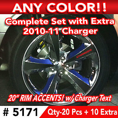 """30pc SET 2010-11 DODGE CHARGER WHEEL 20"""" RIM ACCENTS DECAL STICKER"""