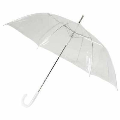 Bulk Lot x 12 Clear Transparent Wedding Umbrella White Handle