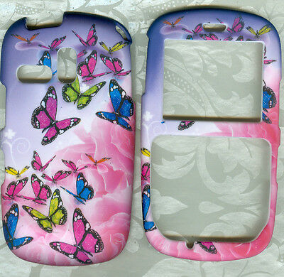rose butterfly rubberized Samsung Freeform SCH-R350 Faceplate Phone Cover case