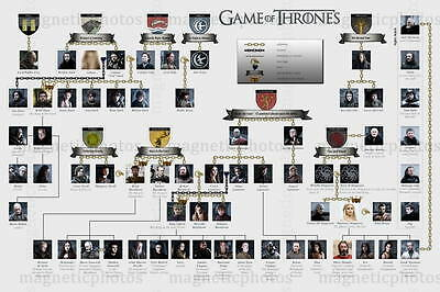 Giant Fridge Magnet - Game Of Thrones - Guide Of Houses - Magnetic Photo Gift