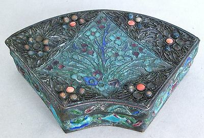 "Antique Chinese Enameled Champleve Cloisonne Bat Wing or Fan Shape Box  (4.3"")"