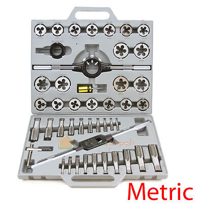 Large Big 45 Piece Metric Size Mm Nc Nf Inch Alloy Steel Tap & Die Tool Set Kit