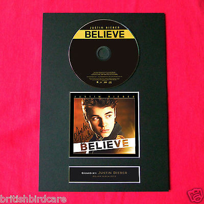JUSTIN BIEBER Believe CD COVER AND DISC 2012 MOUNTED A4 PRINT (14)